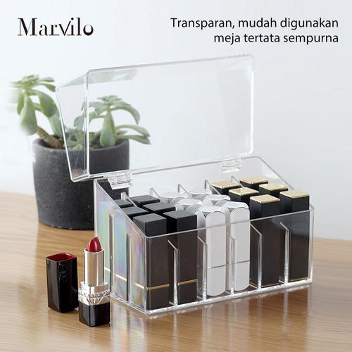 Marvilo Kotak Lipstik Akrilik 18 Sekat dengan Tutup Lipstick Organizer 2