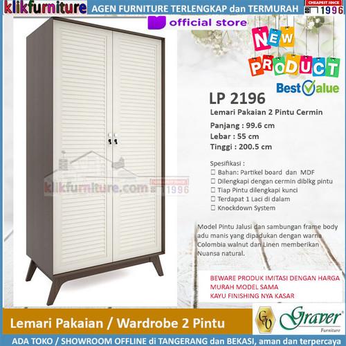 Foto Produk LP 2196 Lemari 2 Pintu Cermin Viral Series Graver dari klikfurniture