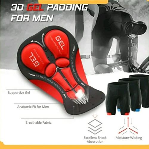 Foto Produk ORI ARSUXEO Celana Pendek Ketat Ber-sepeda Gowes Padding Gel Selutut - Htm Strip Merah, M dari Ayung Sportindo Malang