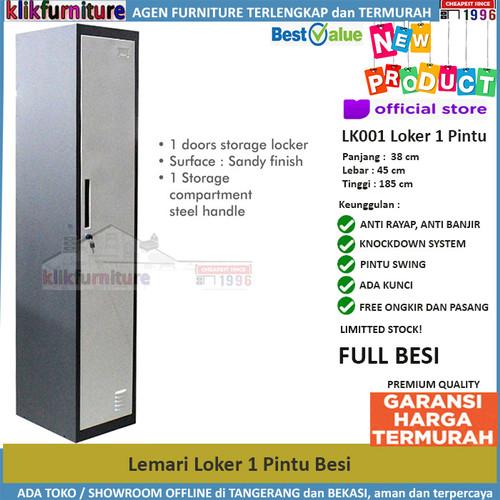 Foto Produk Lemari Loker Locker Cabinet 1 Pintu Full Besi LK001 dari klikfurniture