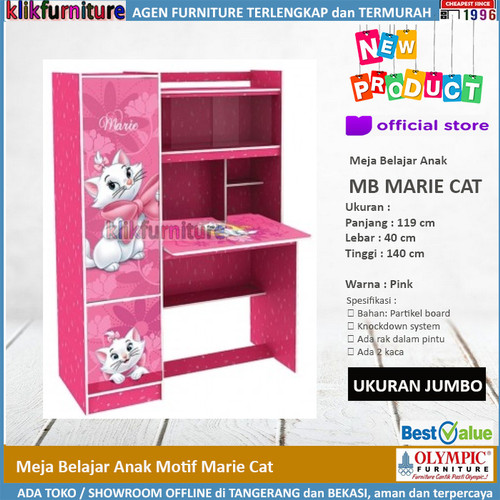 Foto Produk Meja Belajar Anak Motif MARIE THE CAT by Olympic dari klikfurniture