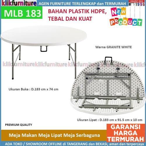 Foto Produk Meja Makan Lipat Bulat Kaki Besi MLB 183 SAPPORO MALATYA dari klikfurniture