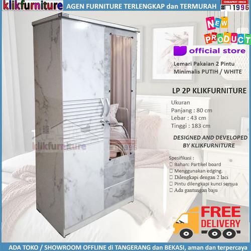 Foto Produk Lemari Pakaian Baju 2 Pintu Putih Minimalis LP2P Klikfurniture dari klikfurniture