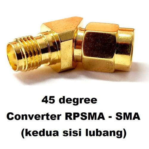 Foto Produk Antenna converter RPSMA-SMA (lubang) 45 degree connector dari DooFPV