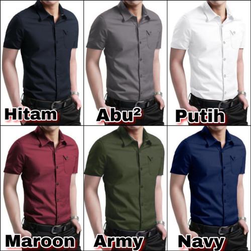Foto Produk baju kemeja pria lengan pendek cowok polos pakaian katun cowo slim fit dari Rifa t-shirt