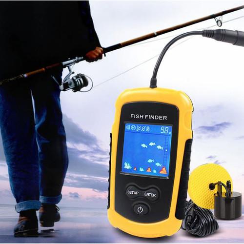 Foto Produk Alat Pelacak Ikan Portable Sonar Fish Finder Cable 4x4 Inch Display 10 - Kuning dari goods place_id