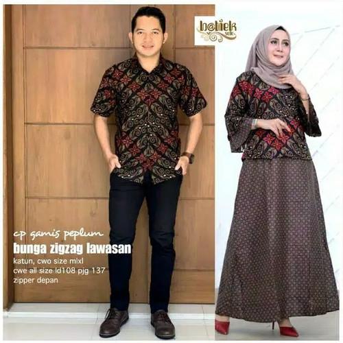 Foto Produk Baju dress gamis peplum couple batik sarimbit kemeja pria motif zigzag dari TABASAMA