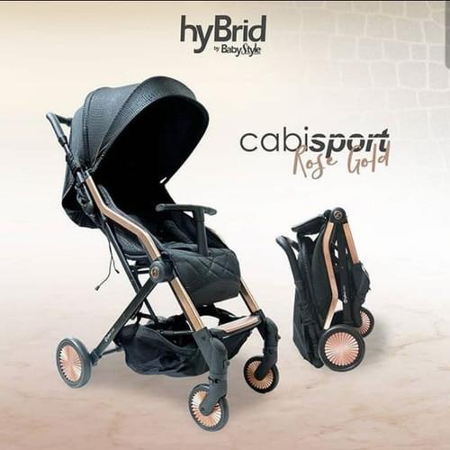 Foto Produk Hybrid Cabi Sport Black Rose Gold Stroller Kereta Dorong Bayi dari Huggy Baby