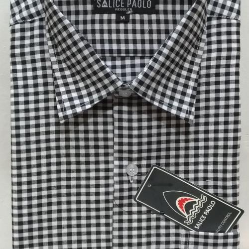 Foto Produk Santa Ricci Kemeja Pria Pendek Kotak Casual Motif Modern Hitam Biru - Hitam, L dari Mega Hero Shirts