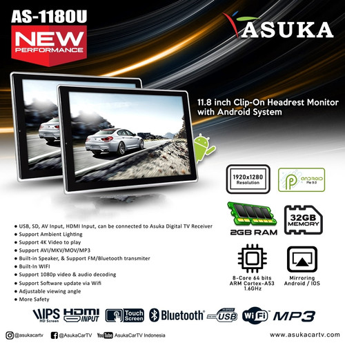 Foto Produk HEADREST CLIP ON ASUKA AS-1180AZ ANDROID/HEADREST ASUKA dari pas audio