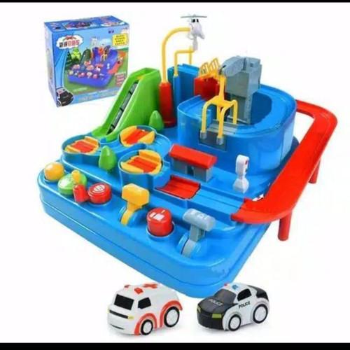 Foto Produk Mainan Edukasi Anak parking lot car track/Brain game adventure - Biru dari AUTO KID II