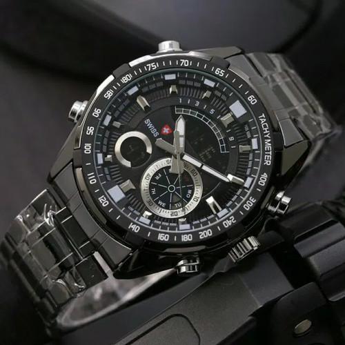 Foto Produk Jam Tangan Pria Swiss Army Dual Time New Limited - Full Hitam dari Grosiran Jam Murah