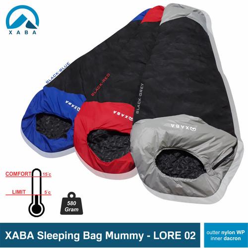 Foto Produk Sleeping bag mummy xaba Lore-UL nylon waterproof dan polar - Biru dari XABA