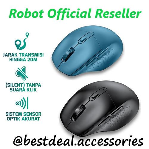 Foto Produk ROBOT M320 Wireless Mouse 6D Silent Key Optical 1600DPI 2.4GHz - Hitam dari bestdeal official