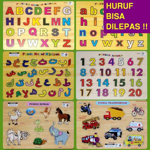 Foto Produk Puzzle Alphabet Huruf Kayu - Mainan Anak Edukasi Puzle Puzel Murah - 01. HURUF BESAR dari Mainan Edukasi Aika Edutoys