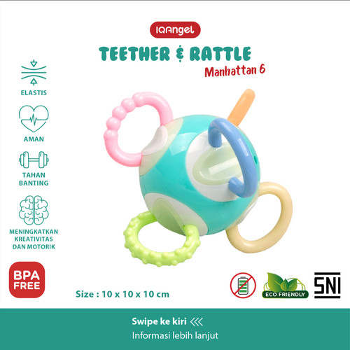 Foto Produk IQAngel Manhattan 6 Teether Rattle Toy / Gigitan Bayi Teether Rattle dari KSM Baby and Kids