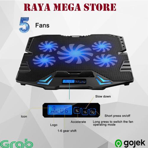 Foto Produk Cooling Pad Laptop 5 Fan Pendingin Laptop Stand Tatakan Meja Cooler - Biru dari Raya Mega Store