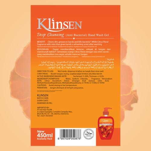 KLINSEN HANDWASH GEL - DEEP CLEANSING 450ml 2
