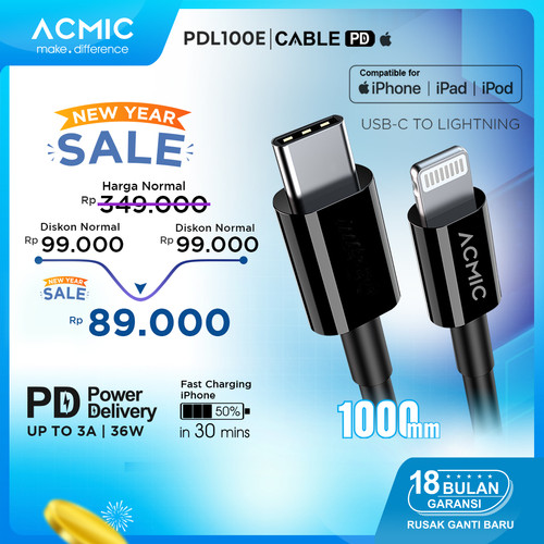 Foto Produk ACMIC PDL100e USB Type C to Lightning Cable PD Fast Charging iPhone 1M - PDL100e Only dari ACMIC Official Store