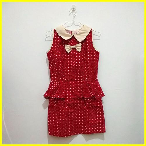 Foto Produk Preloved Baju Second Fashion Dress Cewek Wanita Pita Polka Merah Murah dari Iyesh Online Store