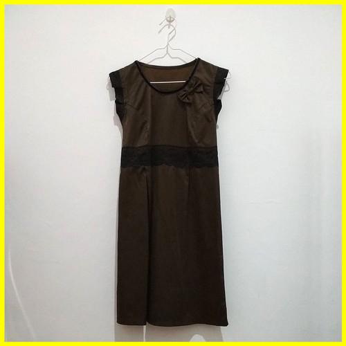 Foto Produk Preloved Baju Second Fashion Dress Cewek Wanita No Lengan Coklat Murah dari Iyesh Online Store