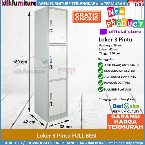 Foto Produk Lemari Loker Locker Cabinet 3 Pintu Full Besi SAPPORO KOLN 3 dari klikfurniture