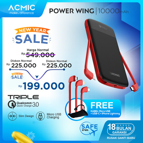 Foto Produk ACMIC Power Wing 10000mAh PowerBank with Triple Quick Charge 3.0 - Black Red dari ACMIC Official Store