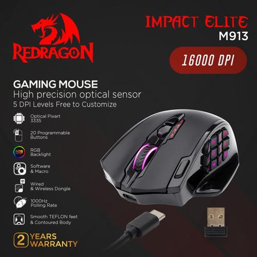 Foto Produk Redragon M913 Dual Mode Gaming Mouse RGB IMPACT ELITE dari manekistore