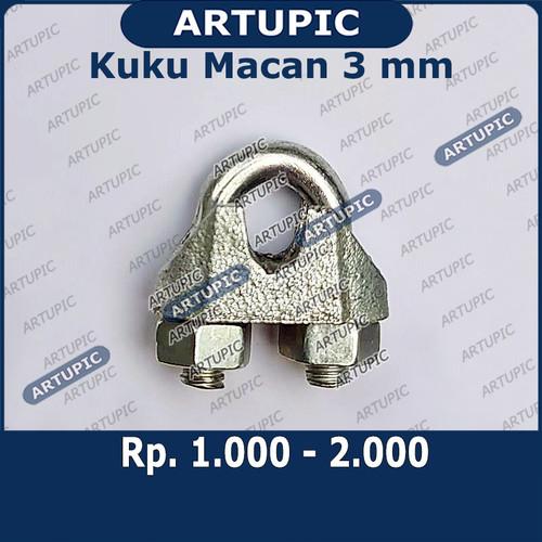 Foto Produk Kuku Macan 3 mm Klem Seling Wire Clip Tali Kawat Baja Kabel Sling dari ArtupicPeralatanPeternak