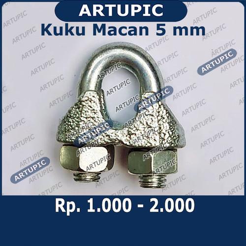 Foto Produk Kuku Macan 5 mm Klem Seling Wire Clip Tali Kawat Baja Kabel Sling 5mm dari ArtupicPeralatanPeternak