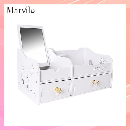 Marvilo Rak Kosmetik Kotak Make Up Dengan Cermin 1