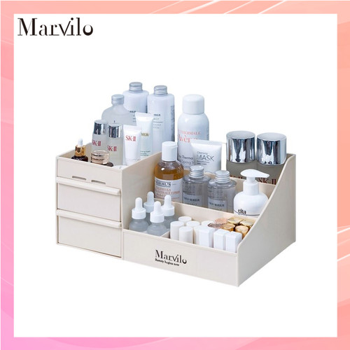 Marvilo Rak Penyimpanan Multifungsi Rak Makeup Organizer - Khaki 2