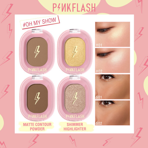 PINKFLASH OhMyShow Highlighter Contour Palette Shimmer 4 Colors PFF02 - H01 Sunshine 1