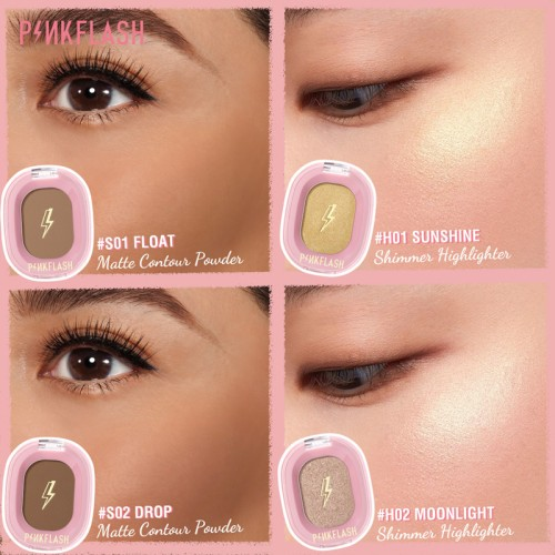 PINKFLASH OhMyShow Highlighter Contour Palette Shimmer 4 Colors PFF02 - H01 Sunshine 4