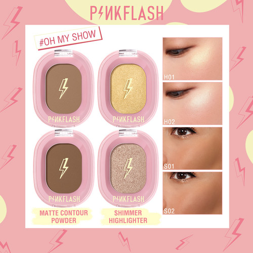 PINKFLASH OhMyShow Highlighter Contour Palette Shimmer 4 Colors PFF02 - S01 Float 1