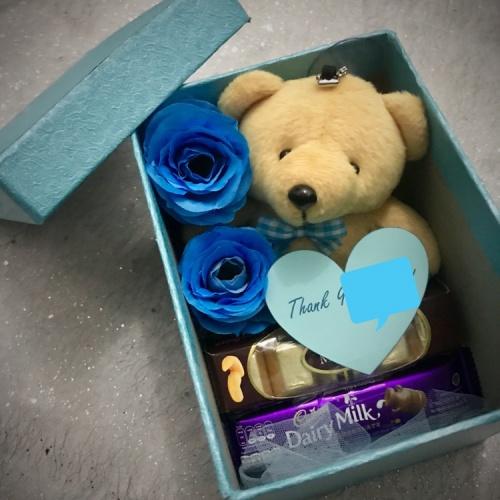 Foto Produk Suprise box love teddy biru / kado pacar cewek / hadiah ulang tahun dari Lee_Art_Shop