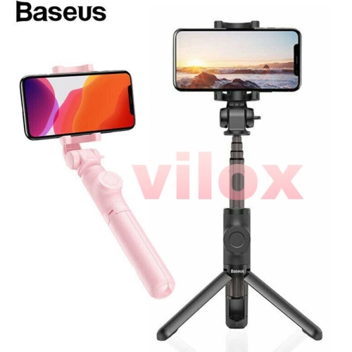 Foto Produk baseus lovely tongsis tripod tongkat selfie stik hp bluetooth vlog - Merah Muda dari Vilox
