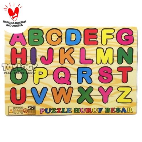 Foto Produk Mainan Edukasi Anak Puzzle Kayu Abjad Alphabet Huruf Besar Kapital ABC dari Toylogy