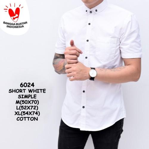 Foto Produk Baju Kemeja Polos Putih Pria Lengan Pendek Simple | Baju Katun Cowok - M dari ALJOSA