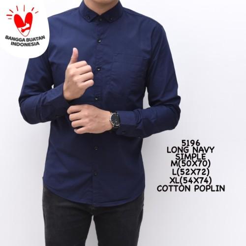 Foto Produk Kemeja Polos Pria Navy Biru Dongker Panjang Slimfit Kerja Cowok - XL dari ALJOSA
