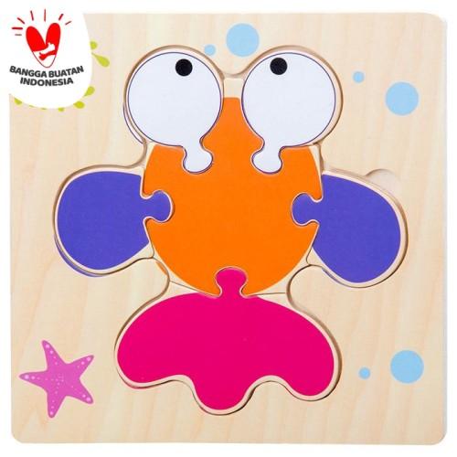 Foto Produk Tweedy Toys - Jigsaw Puzzle Kayu 3D Timbul Lucu Variasi Baru - IKAN A dari TweedyToys