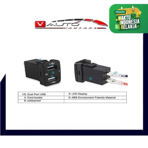Foto Produk Charger USB Dual Socket Voltmeter LED Universal dari vauto