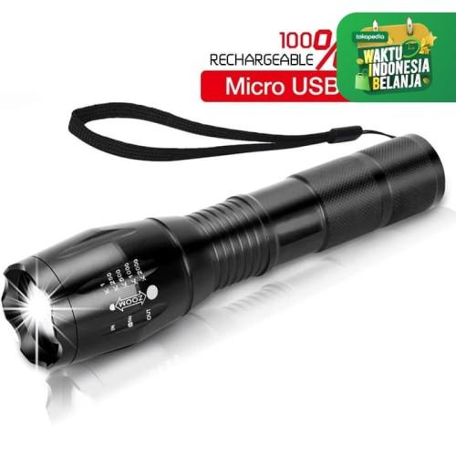Foto Produk Lampu Senter LED Mini e18 XML-T6 Zoom Recharge Micro USB IPX-4 swat dari lbagstore