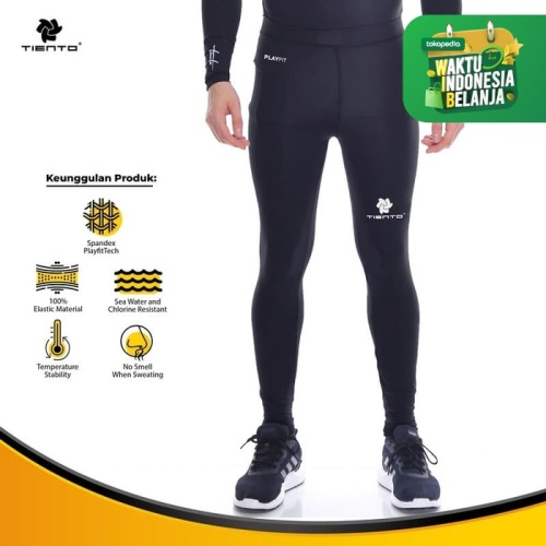 Foto Produk Baselayer Manset Tiento Long Pants Black White Original - Hitam, S dari TIENTO
