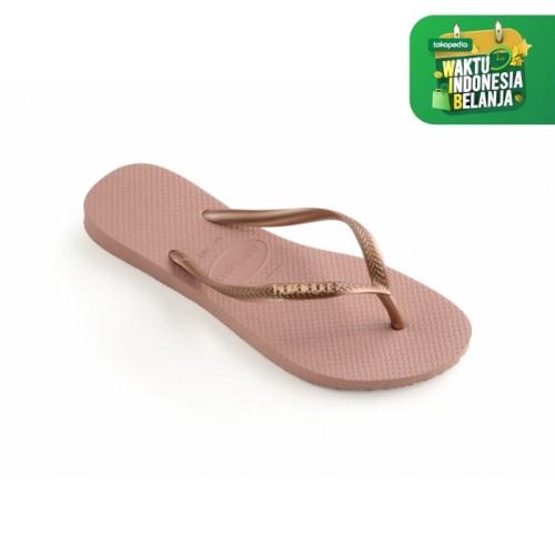 Foto Produk Havaianas Slim Logo Metallic 3655-Rose Nude - Sandal Wanita - Merah Muda, 39-40 dari Havaianas Official Shop