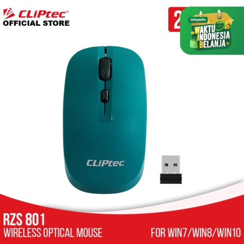 Foto Produk Mouse Wireless Optical CLIPtec RZS801 1600dpi 2.4Ghz (Smooth On/Off) - Hijau dari CLIPTEC OFFICIAL STORE