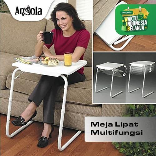 Foto Produk Angola Meja Lipat Portable D25 Meja Laptop/Makan/Belajar Serba Guna - Putih dari Angola Official Store