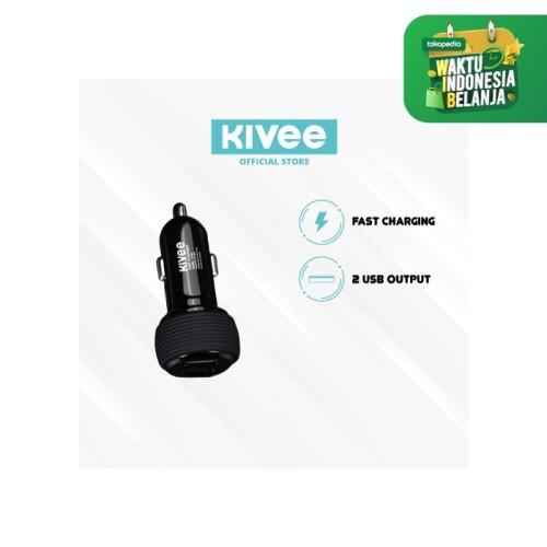 Foto Produk Kivee Car Charger Fast Charging Dual Ports USB UT201 - UT201 Hitam dari Kivee Official Store