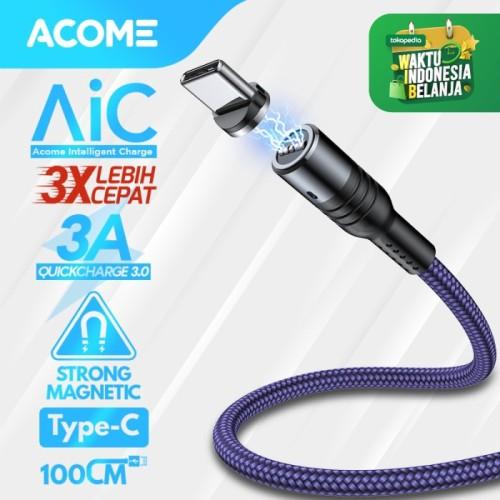 Foto Produk Acome Kabel Data Strong Magnetic Fast Charging 3A 100 cm Garansi 1 Thn - Kabel Type-C dari Acome Indonesia