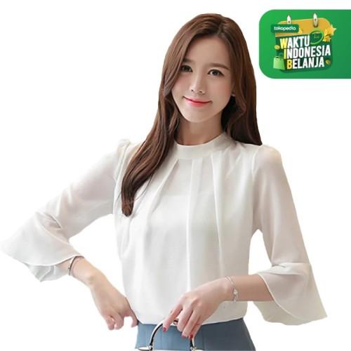 Foto Produk Blus Sifon Gaya Korea tangan 3/4 Variasi tangan - Jfashion Moon - Putih, M dari j--fashion